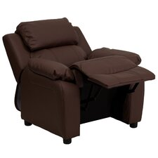Contemporary Kid's Recliner with Storage Arms