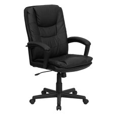 High Back Leather Executive Chair with Double Padded Cushions