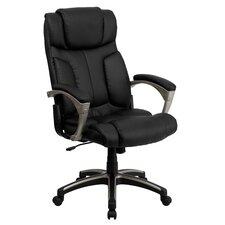 High-Back Leather Folding Executive Office Chair with Arms