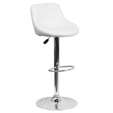 Contemporary Vinyl Adjustable Height Bucket Seat Bar Stool