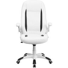 Personalized High-Back Leather Executive Office Chair with Flip-Up Arms