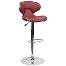 Contemporary Vinyl Adjustable Height Cozy Mid-Back Bar Stool