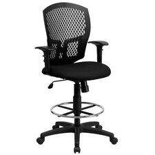 Mid-Back Designer Back Drafting Stool with Padded Seat and Arms