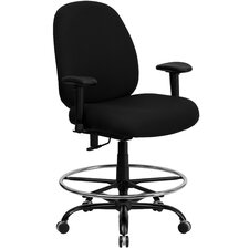 Height Adjustable Hercules Series Big and Tall Fabric Drafting Stool with Arms and Extra Wide Seat