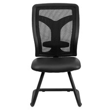 Mesh Side Chair with Leather Seat and Adjustable Lumbar Support
