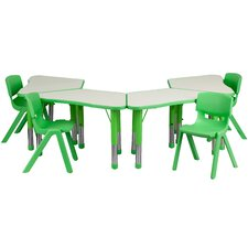 Trapezoid Activity Table Configuration with 4 School Stack Chairs