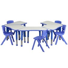 Trapezoid Activity Table Configuration with 5 School Stack Chairs