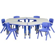 Trapezoid Activity Table Configuration with 6 School Stack Chairs