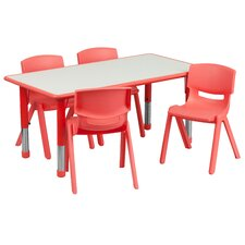 """Adjustable 21.88"""" W x 47.25"""" D Rectangular Activity Table with 4 School Stack Chairs"""