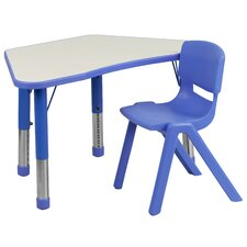 Trapezoid Activity Table Configuration with 1 School Stack Chair