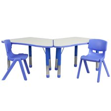 Trapezoid Activity Table Configuration with 2 School Stack Chairs