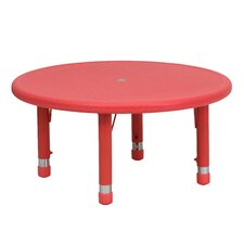 Round Height Adjustable Plastic Activity Table