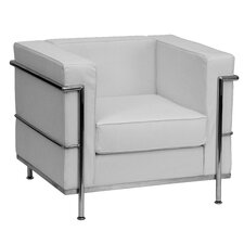 Hercules Regal Series Leather Mid-Back Reception Chair with Encasing Frame