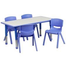 "Adjustable 21.88"" W x 47.25"" D Rectangular Activity Table with 4 School Stack Chairs"