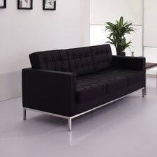 Hercules Lacey Series Leather Love Seat with Encasing Frame