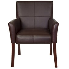<strong>Flash Furniture</strong> Leather Executive Guest Side Chair  with Mahogany Legs