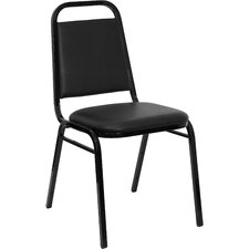"1.5"" Hercules Series Trapezoidal Back Stacking Banquet Chair with Black Frame"