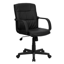 Mid-Back Leather Task Chair with Nylon Arms