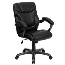 <strong>Flash Furniture</strong> Leather Executive Chair with Gun Metal Base and Thick Padded Arms