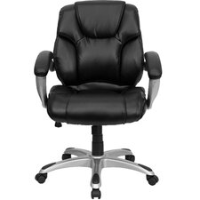 <strong>Flash Furniture</strong> Leather Executive Chair with Titanium Base and Thick Padded Arms