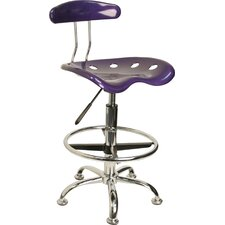 Height Adjustable Drafting Stool with Chrome Base