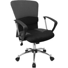 Contemporary Two-Tone Mid-Back Office Chair with Adjustable Lumbar Support