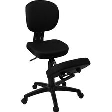 Mobile Ergonomic Kneeling Posture Task Chair in Black Fabric with Back