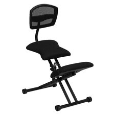 Ergonomic Kneeling Chair with Black Mesh Back and Fabric Seat