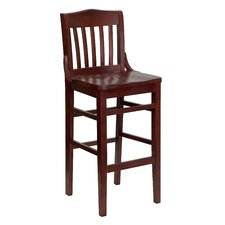 Hercules Series Finished School House Back Wooden Restaurant Bar Stool in Mahogany
