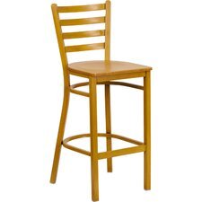 Hercules Series Ladder Back Metal Restaurant Bar Stool with Wood Seat
