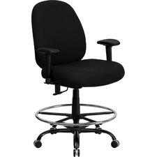 <strong>Flash Furniture</strong> Height Adjustable Hercules Series Big and Tall Fabric Drafting Stool with Arms and Extra Wide Seat