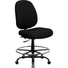 <strong>Flash Furniture</strong> Height Adjustable Hercules Series Big and Tall Fabric Drafting Stool with Extra Wide Seat