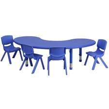 <strong>Flash Furniture</strong> Adjustable Half-Moon Activity Table Set with 4 School Stack Chairs