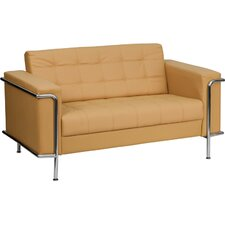 Hercules Lesley Series Leather Love Seat with Encasing Frame