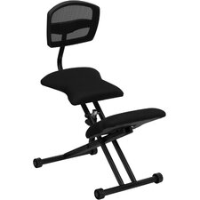 <strong>Flash Furniture</strong> Ergonomic Kneeling Chair with Black Mesh Back and Fabric Seat