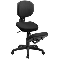<strong>Flash Furniture</strong> Mobile Ergonomic Kneeling Posture Task Chair in Black Fabric with Back