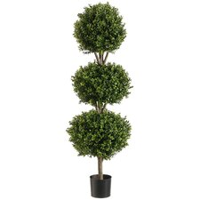 "48"" Triple Ball Shaped Boxwood Topiary Plant with Plastic Pot"