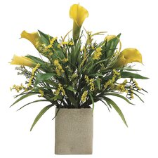 Calla Lily/Statics/Grass in Rectangular Vase