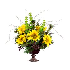 "24"" Sunflower, Protea and Bells of Ireland Floral Arrangement with Urn"