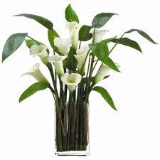 """28"""" Calla Lily with Glass Vase"""