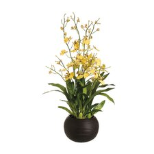"<strong>Tori Home</strong> 29"" Dancing Orchid with Sphere Vase in Yellow"