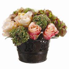 Hydrangea/Rose/Sedum in Tin Pot