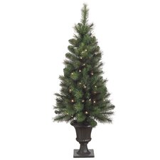 <strong>Tori Home</strong> Bottlebrush 4' Green Artificial Christmas Tree with 70 Clear Lights with Urn