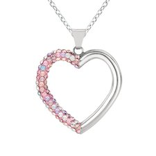 Sterling Silver 71 Crystal Heart Necklaces