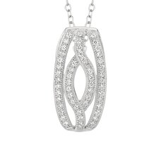 Sterling Silver Micro-Set White Cubic Zirconium Navette Necklaces