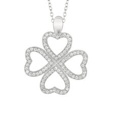Sterling Silver Micro-Set Cubic Zirconium Clover Hearts Necklaces