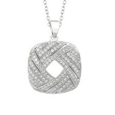 Sterling Silver Micro-Set 116 Cubic Zirconium Square Necklaces