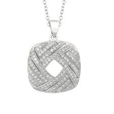 Sterling Silver Micro-Set 116 Cubic Zirconium Square Necklaces