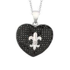 Sterling Silver Micro-Set Cubic Zirconium Heart with Fleur De Lis Necklaces