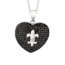 Sterling Silver Micro-Set Cubic Zirconium Heart with Fleur De Lis Necklaces